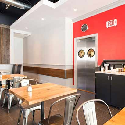 Reclaimed Barn Board Wall Paneling & Reclaimed White Oak Tables ~ Pomodori Restaurant, Georgetown, Massachusetts