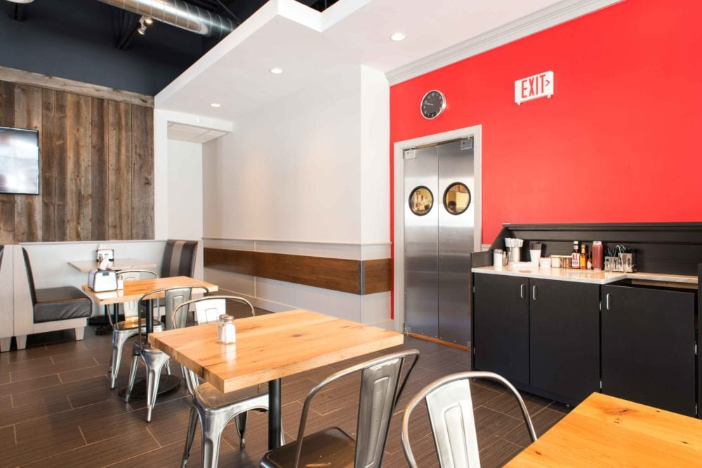 Reclaimed Barn Board Wall Paneling & Reclaimed White Oak Tables ~ Pomodori Restaurant, Georgetown, MA
