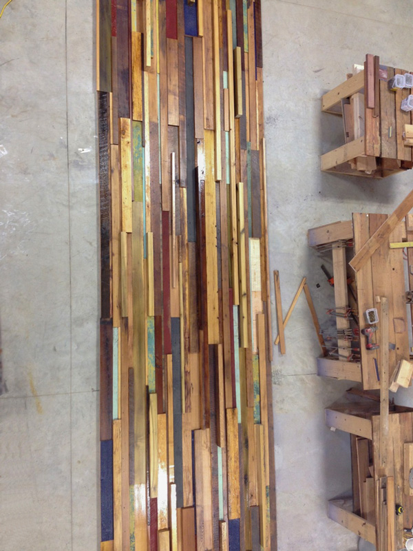 Mixed Reclaimed Woods Wall Paneling Under Construction at the Mill in Maine