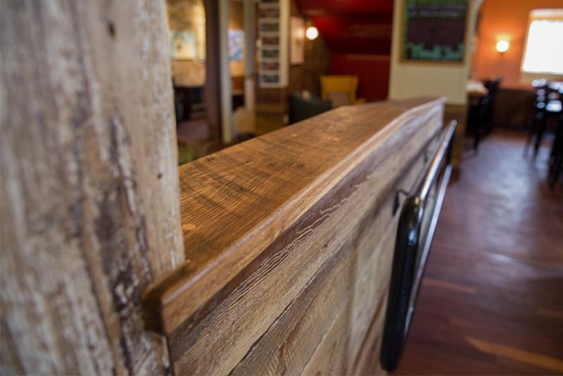 Salvaged Barn Board and Reclaimed Oak, Gloucester, MA Restaurant