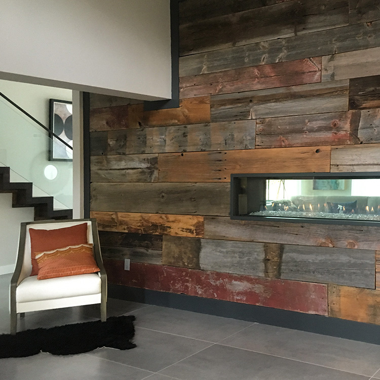 Salvaged Barnboard Wall Paneling In Private Home
