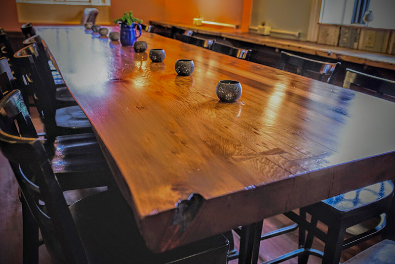 Salvaged Redwood Table, Gloucester, MA Restaurant