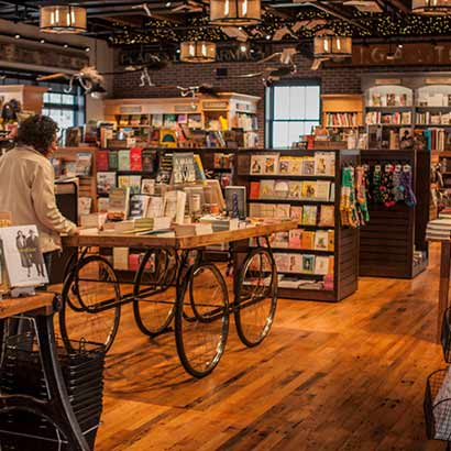 Reclaimed Factory Maple Flooring in Bookstore