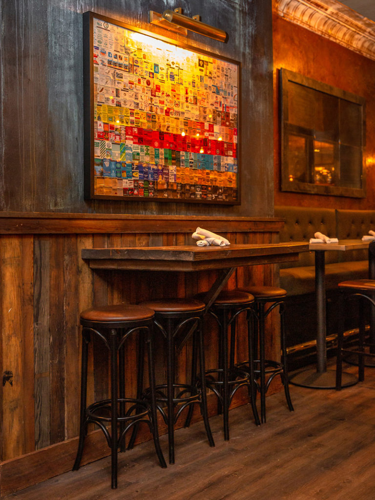 Reclaimed Wood Paneling and Drink Rail, Elm Street Taproom, Somerville, MA